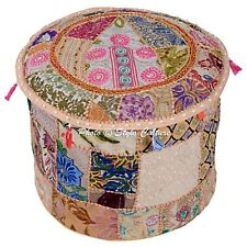 "Round Pouf Cover Patchwork Bohemian Large Indian Ottoman Embroidered 18"" Beige"