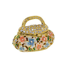 Enameled Jewelry Purse Box Crystal Bejeweled figurine Trinket Collectible Xmas G