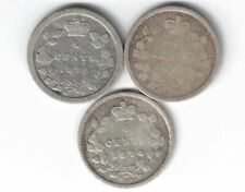 3 X CANADA FIVE CENT QUEEN VICTORIA STERLING SILVER COINS 1870 1871 1874H