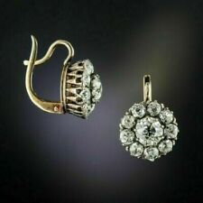 2Ct Round Cut Diamond Antique Flower Drop/Dangle Earrings 14k Yellow Gold Over