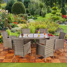 Mucola Poly Rattan Sitzgruppe 6 Stühle + Tisch in Braun