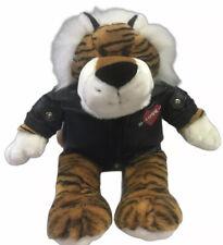 Lion plush animal wears black leather jacket  with heart love DanDee