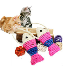 Pet Cat Kitten Fish Shaped Sisal Scratching Post Scratch Board Play Hangin UKWG
