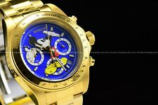 Invicta Men's 40mm Disney Micky Mouse Limited Ed. Gold Plated Blue Dial SS Watch