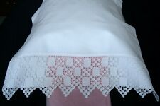 More details for pair white cotton pillowcases with vintage crocheted lace ~ unused condition