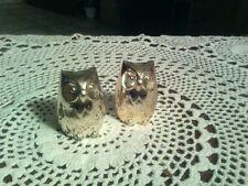 """Vintage Silver Plated Salt & Pepper Shakers Owl Set """"Japan""""."""