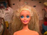 Pretty Vtg 90s BARBIE Straight Blonde Hair Iridescent Tinsel Blue Pink Streaks