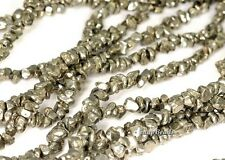 PALAZZO IRON PYRITE GEMSTONE GRANULE PEBBLE CHIPS 3MM-4MM LOOSE BEADS 16""