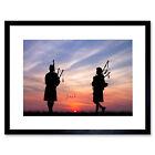 Photo Mock Up Silhouette Sunset Scottish Piper Framed Wall Art Print