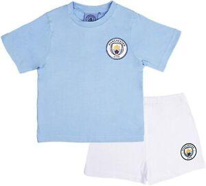 Boys Official Manchester City Short Pyjamas 100% Cotton Football Shortie PJs