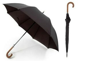 Drizzles Mens Wooden Crook Handle Long Auto Walking Umbrella