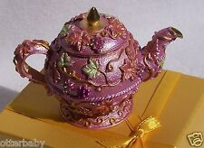SWAROVSKI CRYSTAL BEJEWELED ENAMELED HINGED TRINKET BOX- PINK TEA POT