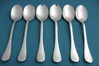 6 Place Oval Soup Spoons Ginkgo LAFAYETTE Hammered 18/0 Stainless NEW 7 5/8""