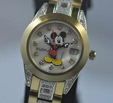 New Womens Elgin Disney Mickey Mouse MCK208 Date Gold Tone Bracelet Watch