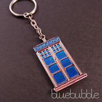 FUNKY BLUE POLICE PHONE BOX KEY RING TARDIS CHARM SCI FI KITSCH RETRO 80S TV POP
