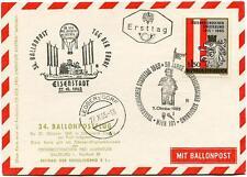 1965 Ballonpost n. 34 Pro Juventute Aerostat OE-DZB Leobersdorf Eisenstadt Fahne