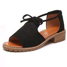 Womens Ladies Lace Up Flat Espadrilles Sandals Holiday Summer Chunky Shoes Size