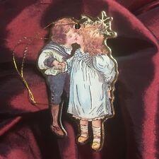 Die Cut Christmas Ornament Victorian Girl & Boy Kiss Mistletoe Vintage Style
