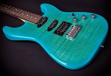 New Chris Campbell Guitars Custom Shop Turquoise Burst Flame Birdseye Neck