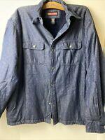 Craftsman -  Men's  Long Sleeve Button Up Cuffs Size  L Denim Blue Fleece Lined