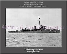 USS George DE 697 Personalized Canvas Ship Photo Print Navy Veteran Gift