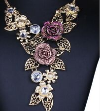 GOLD TONE AMETHYST & CLEAR RHINESTONE NECKLACE AND EARRING SET ROSE SETTINGS