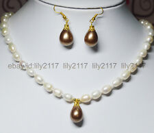 Charm 7-9mm White Akoya Pearl + Brown Shell Pearl Pendant Necklace 18'' Earrings