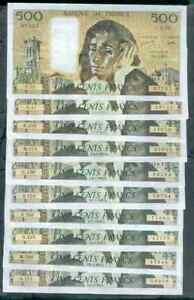 LIASSE DE 10 BILLETS DE 500 FRANCS PASCAL TTB+