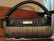 Burberry haymarket Dark Brown Ombre shoulder purse handbag $635
