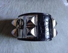 Hermes Collier De Chien POROSUS Croc Black Palladium Bracelet Cuff S