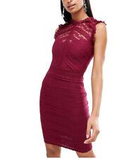 Lipsy Sexy Bodycon Dress 12 Lace High Neck Ruffle Berry Burgundy Midi Party Club
