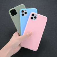 For Apple iPhone 11 11 Pro Max Silicone Solid Color Shockproof Phone Case Cover