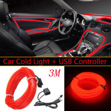 3m USB LED Rojo Brillo De Luz Cable El CADENA Strip Cuerda Tubo Coche Interior