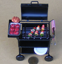 1 12 Scale Metal Barbecue Trolley Dolls House Miniature Garden Accessory BBQ