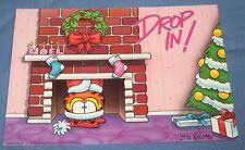 Vtg Argus Jim Davis Garfield Cat Christmas Post Card Party Invitation Santa