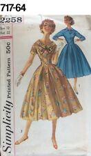 VTG Sewing Pattern Simplicity #2258 Size 12 Bust 32 Dress 1957 Full SKirt