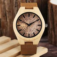 Casual Handmade Nature Wood Bamboo Leather Band Men Analog Quartz Wrist Watch
