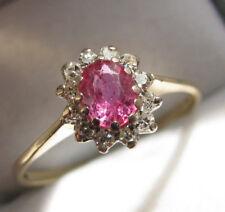 18 KT ORO GIALLO 0.43 KT Rubino & Diamanti Fiore Anello Taglia P 3/4 Stati Uniti 8.15 SPLENDIDA