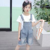 Girls Casual Demin Shorts Bib Overall Kids Children Suspender Jeans Short Pants