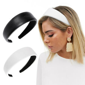 Women Lady Leather Headband Hairband Wide Hair Band Hoop Accessories Headdress