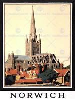 TRAVEL TOURISM NORWICH CATHEDRAL NORFOLK UK NEW ART PRINT POSTER PICTURE CC4435
