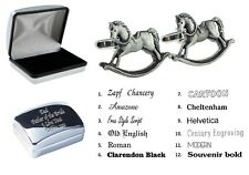 Pewter Rocking Horse Cufflinks + Personalised Engraved Case XDHCL1260+XDB