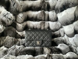 Authentic 2018 CHANEL Mini Classic Flap Black Caviar Silver Hardware Bag