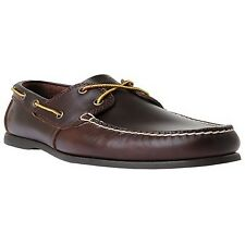 Timberland Cedar Bay Boat Shoe Dark Brown Pull up 10 Wide