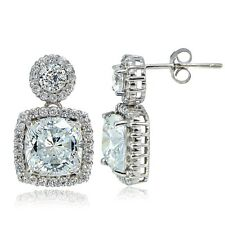 Platinum Plated 925 Silver 100 Facets Cubic Zirconia Cushion-Cut Dangle Earrings