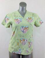 Disney Bambi Women's Small Green V Neck Short Sleeve Floral Medical Scrub Top
