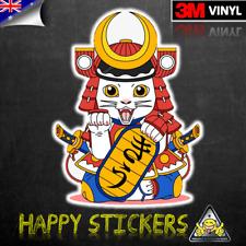 Japan Lucky Kitty Cat Samurai Luggage Car Skateboard Laptop Vinyl Decal Sticker