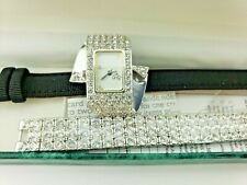 Suzanne Somers HSN 2 Band Leather Rhinestone Crystal Watch New Battery!