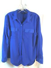 Apt. 9 Blouse Size XL Blue Breast Pockets Polyester Button Front