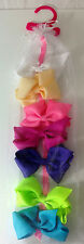 NEW- Set of 7 Ribbon HAIR BOWS -Pink, Purple, Blue, Green, White 3.5 Inches Long